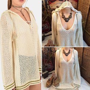 """Free People"" shadow stripe crocheted sweater- M"
